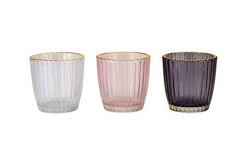 3er Set Teelicht-Halter/Teelicht-Gläser mit Gold-Rand in transparent anthrazit & rosé - Tisch-Deko Vintage-Dekoration Hochzeit Geburtstag Kerzen Teelichter Kerzen-Ständer