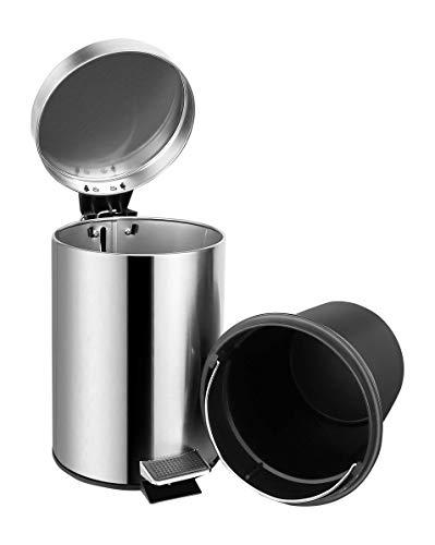 Ambrosya® | Exklusiver Kosmetikeimer aus Edelstahl | Abfall Abfalleimer Bad Badezimmer Deckel Liter Müll Müllbeutel Mülleimer Pedal Toilette Treteimer WC (Edelstahl (Gebürstet), 5 Liter)