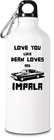 Love you like dean loves impala 600ml Aluminium Sport Flasche mit Schraubverschlus