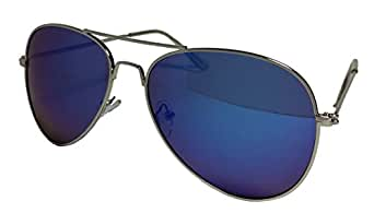 Blue Aviator Sunglasses With Silver Frame And Dark Tint
