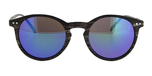 Gafa de sol wild wood efecto madera de Calgary con montura en marrón oscuro opaco y lentes en color azul espejo reflectante para chico, chica o unisex. Con funda incluida.
