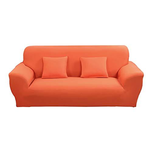 Vier Sitz-stoff Sofa (Odot Elastischer Sofabezug, Antirutsch Stretch Couchbezug Sesselbezug Weich Stretchhusse Stoff Möbelschutz Sofa (4 Sitze: 230-300cm,Orange))