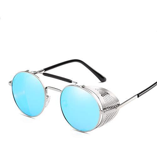 New Steampunk-Brille Persönlichkeit Windschutzscheibe Sonnenbrille Retro-Farbfilm reflektierenden Froschspiegel Silberrahmen eisblau Stück Code