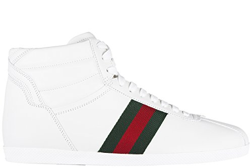 1b0846da91a80c Gucci Damenschuhe Damen Leder Schuhe High Sneakers mirò soft web Weiß