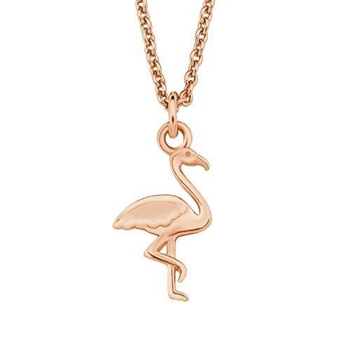 s.Oliver Damen Kette, Halskette mit Flamingo-Anhänger, aus 925er Sterling Silber, rosévergoldet, Echtschmuck für Frauen & Mädchen, Silberschmuck, längenverstellbar: 40 - 45 cm