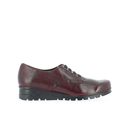 YOKONO Jaspe, Zapatos de Cordones Brogue para Mujer, Rojo Burdeos 005, 40 EU