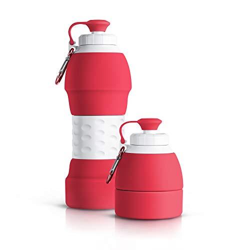 Lungogo Faltbare Trinkflasche Wiederverwendbare 580ml,Tragbar Auslaufsichere Wasserflasche aus Silikon,Reiseflasche für Laufen,Reiten,Wandern,Im Freien (Rot)