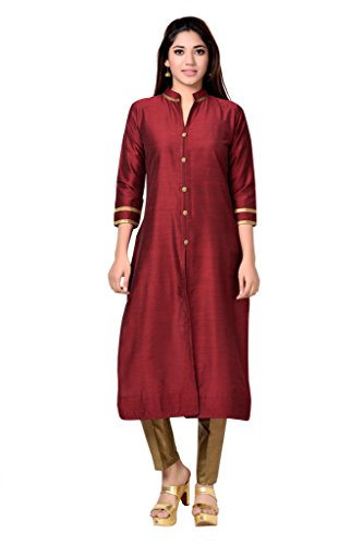 Studio Shringaar Dark Maroon Long Band Collar Kurti