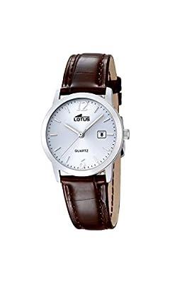 Lotus 18240/3 - Reloj de cuarzo para mujer, esfera blanca analógica y correa de piel marrón