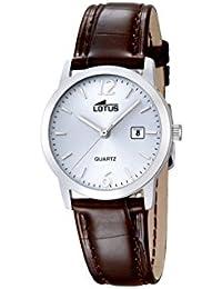 Lotus Reloj de cuarzo para mujer con blanco esfera analógica pantalla y correa de piel color marrón 18240/3