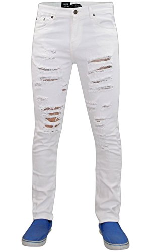 Hommes G-72 Zip Fly stretch Skinny Slim Fit Ripped Jeans Coton Pantalons Pantalons white