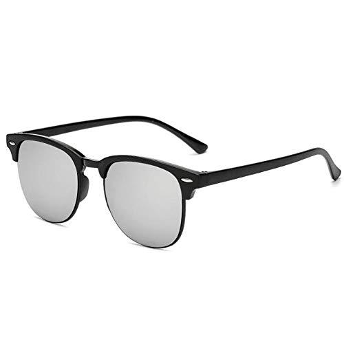 Szblk Polarisierte Sonnenbrille Outdoor Sonnenbrille Mode Sonnenbrille männer und Frauen Sonnenbrille Retro Klassische Big Frame reflektierende Sonnenbrille (Color : Silver)