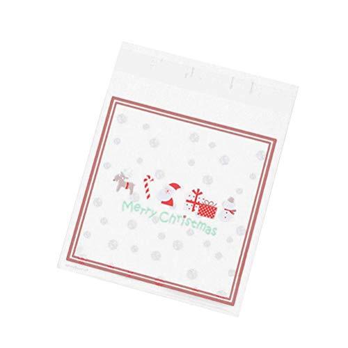 OUNONA 100 Stücke Weihnachten Selbstklebende Kekse Verpackung Taschen Behandeln Beutel Gut für Bäckerei, Kekse, Süßigkeiten, Dessert Xmas Party Favors (Weihnachten Schneeflocke)