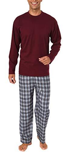 Herren Schlafanzug Pyjama lang mit Flanell Hose - auch in Übergrößen - 281 101 90 997, Größe2:58, Farbe:rot