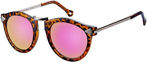 La Optica B.L.M. UV400 CAT 3 CE Damen Sonnenbrille Rund ohne Nasensteg - Glänzend Leo (Gläser: Pink verspiegelt)_LO15 Br B-Pink