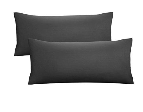 Biberna 0077144 Jersey-Kissenhüllen aus 100 % Baumwolle mit Reißverschluss, 2er-Pack, 40 x 80 cm Schwarz, 27 x 18 x 3 cm