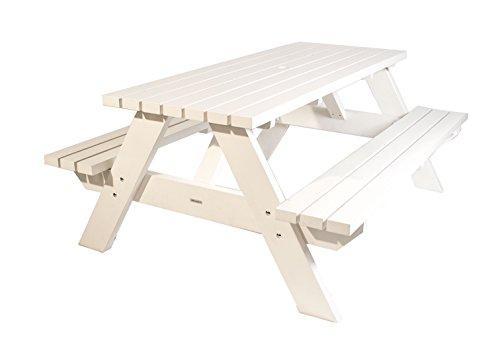 Picknicktisch weiß 180 cm, Picknickbank weiß , Trend aus Holland