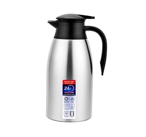 Jarra Térmica, termo para bebidas frías, hervidor de agua para el hogar, botella aislada de doble pared, hervidor de vacío dorado (Plata, 2000ML)