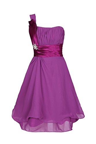 ROBLORA Robe De Cérémonie Soirée Cocktail Mariage Robe Demoiselle D'honneur une épaule courte 11890 … Violet