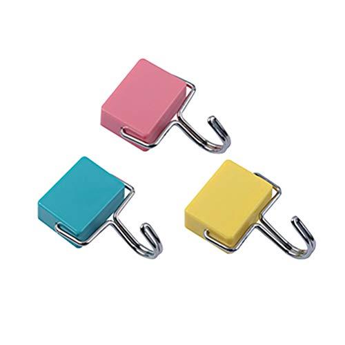TOPBATHY 3 Stücke Magnethaken Wand Traceless Stick Haken Kühlschrank Hängen Haken Kleiderbügel für Büro Küche Wohnkultur (Gelb Grün Rosa) -