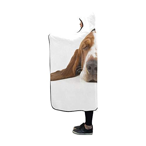 JOCHUAN Mit Kapuze Decke Basset Hound lokalisiert auf weißer Decke 60x50 Zoll Comfotable Mit Kapuze Wurfs-Verpackung Basset-hound-fleece