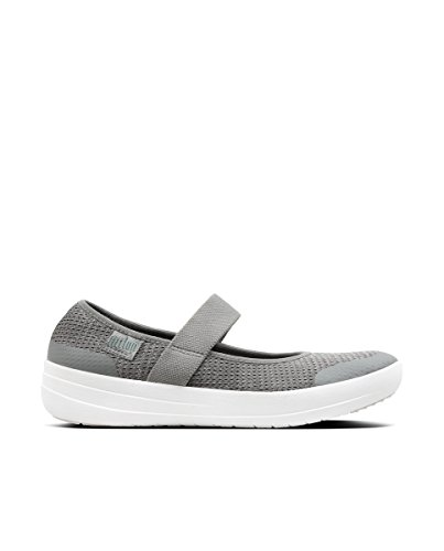 Fitflop Women Uberknit Metallic Weave Mary Janes, Multicolour (Charcoal/Metallic Pewter), 41 EU (7 UK)