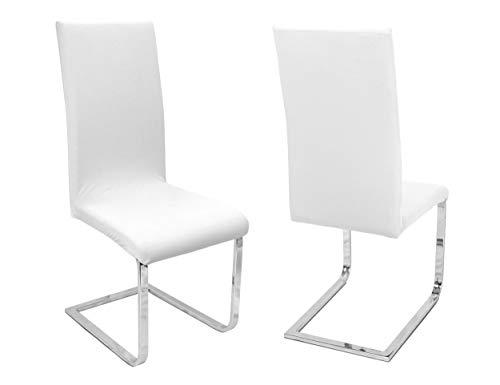 BEAUTEX 2er Set Stuhlhussen, elastische Stretch Hussen Bi-Elastic, Motiv und Farbe wählbar (Motiv Johanna, Farbe Weiß)