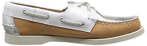 Sebago SPINNAKER B58168, Chaussures basses femme Argent - Tan/Silver/White
