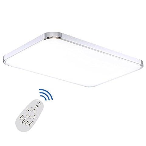 Etime® 96W LED Deckenleuchte Dimmbar Deckenlampe Modern Wohnzimmer Lampe Schlafzimmer Küche Panel Leuchte 2700-6500K mit Fernbedienung Silber (93x65cm 96W