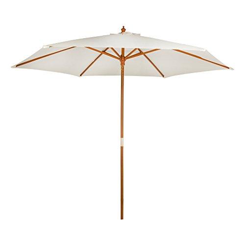 Aktive 53863 - Parasol Hexagonal con Mástil de Madera 48 mm, Crema,...