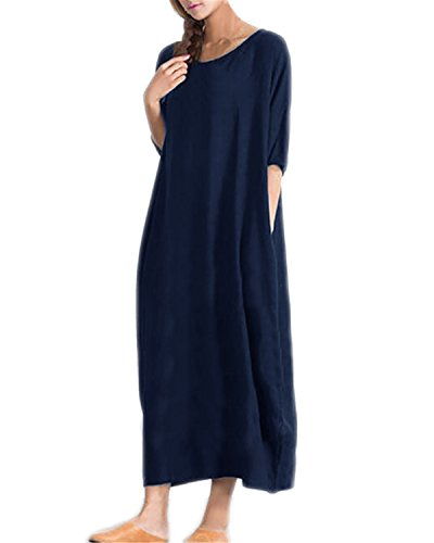 Kidsform Women Autumn Cotton Solid Half Sleeve Casual Kaftan Long Maxi Dresses Navy Size 2XL/UK 20