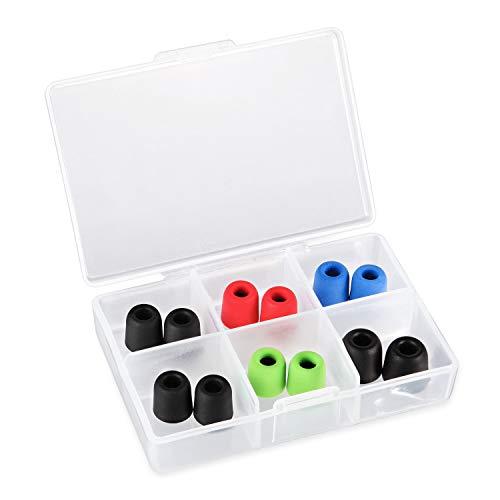 KLIM Almohadillas para Auriculares 4.9mm- Nuevas - Espuma con Memoria - 12 Almohadillas - Extremadamente Cómodas - Aíslan el Ruido Exterior - 2 Tamaños Diferentes