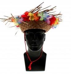 Preisvergleich Produktbild 4 x Strohhut Karibik mit Blumenband am Rand