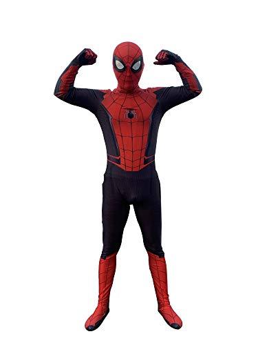 inder Skinny Spiderman Heimkehr Kostüme Cosplay Halloween Geburtstagsparty Rächer Lycra Schwarz Und Rot 3D-Druck Mit Abnehmbarer Maske Spider-Man-Strumpfhose,Adult-M ()
