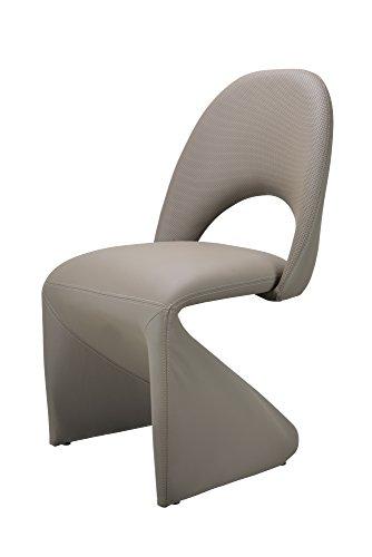 CAVADORE Schwingstuhl 2-er Set LOGAN / 2x gepolsterte Esszimmerstühle in modernem Design / Bezug Kunstleder beige / schlamm Farbe / 52 x 89 x 55 cm (B x H x T) - 2
