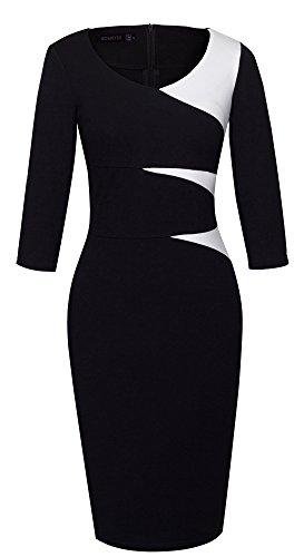 HOMEYEE Frauen elegante 3/4 Arm Hülse V-Ansatz dünnes Partei Abend formales Retro Patchwork Weinlese Kleid B346 Schwarz