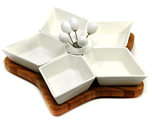 Serviceset 12-teilig, Drehscheibe aus Bambus und 5 Schälchen aus Porzellan +5 Spieße