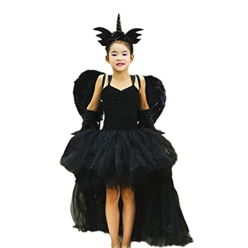 Feder Kostüm Kleid - Amosfun Halloween Party Kostüme Feder Engel Flügel Kleid Hörner für Kinder Cosplay Party