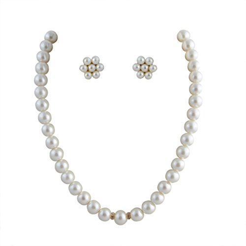 Classique Designer Silver Alloy with Gold Plated Round Pearl Necklace Set for Women(CP329)