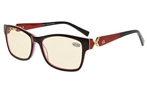 Eyekepper Lunettes Ordinateur / lunette de lecture pour femme - anti eblouissement fatigue - protection UV - anti rayon bleu - verre teintee ambre monture marron blanc rouge +3.00