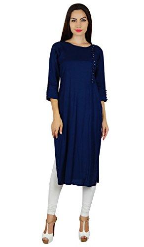 Bimba rayonne er kurta Kurti manches 3/4 formelle casual tunique blouse Bleu