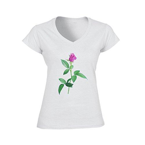 Flowers Nature Blossom Plant Real Pink Green Rose Damen V-Neck T-Shirt Weiß