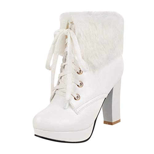 Watopi Damen Schuhe Stiefel Süße runde Kappe Combat Boots Schnürstiefeletten mit hohem Absatz und Schnee