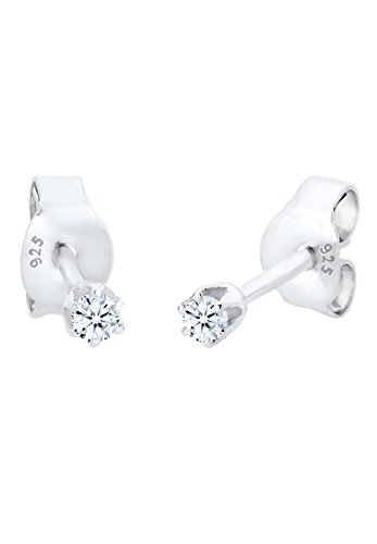 k Ohrringe Ohrstecker Basic Glamour Elegant Silber 925 Diamant 0,06 Karat Weiß ()