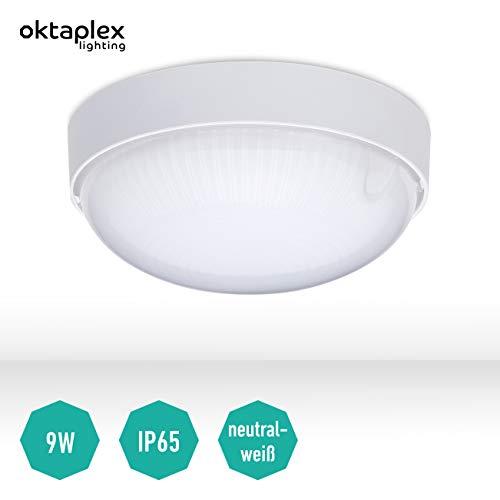 Hublot étanche Base Oval mini applique murale mini plafonnier LED IP65 Lumière Cave Ø 14 cm | 4000K Blanc neutre | 800 Lm | 9Watt