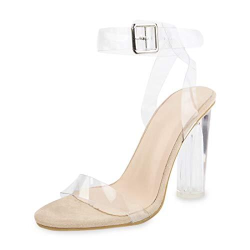 Damen Sandalen Sommer-Sandalen für Frauen Plateau High Heels Block Comfy Party Schuhe, Transparent - Nude Color - Größe: 38 EU Caged High Heel