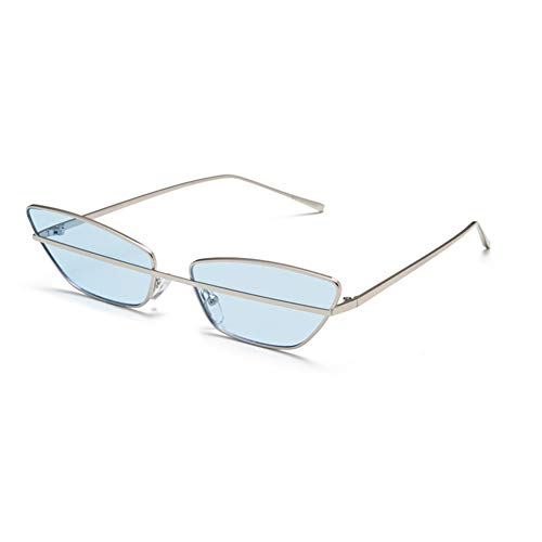 HQMGLASSES Fashion Women's Eyes Sunglasses Mirror Surface Lens Metal Frame Designer Butterfly Street Punk Glasses Suitable for Casual/Party,Silver/Blue