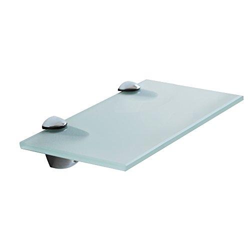 Melko® Glasablage mit Edelstahl-Halterung - Wandregal Bad & WC - Badablage für Spiegel & Waschbecken - Glasablage für Wohnzimmer & Küche & Flur (20 x 10 x 0.6 cm, Milchglas)