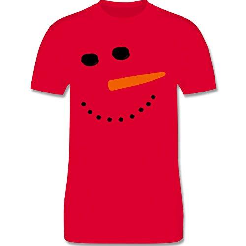 Après Ski - Schneemann Gesicht Snowman - Herren Premium T-Shirt Rot
