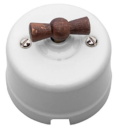 Interruptor de porcelana unipolar. Manecilla haya envejecida.